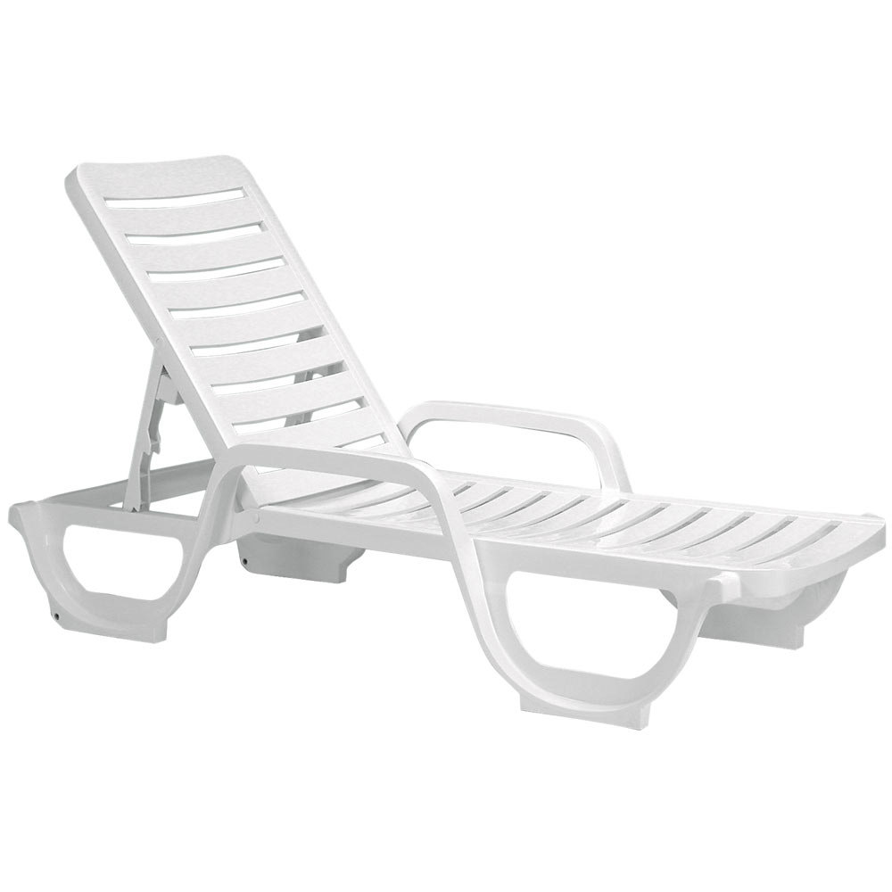 Grosfillex 44031104 44031004 bahia white stacking for Chaise longue plastique