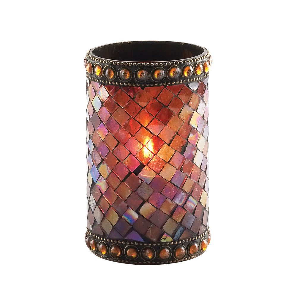 Sterno products 80108 4 3 4 amber beaded mosaic liquid candle holder