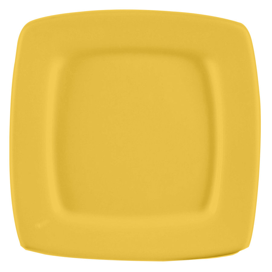 "CAC R-S6QYW Clinton Color Square in Square Plate 6 7/8"" - Yellow 36/Case"