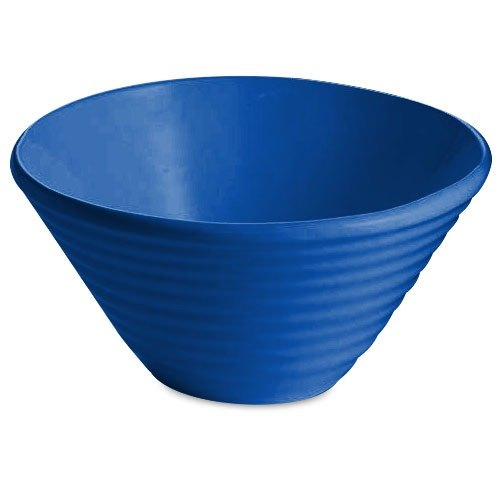 Tablecraft CW13080BL 2.5 Qt. Blue Cast Aluminum Round Bowl with Rings