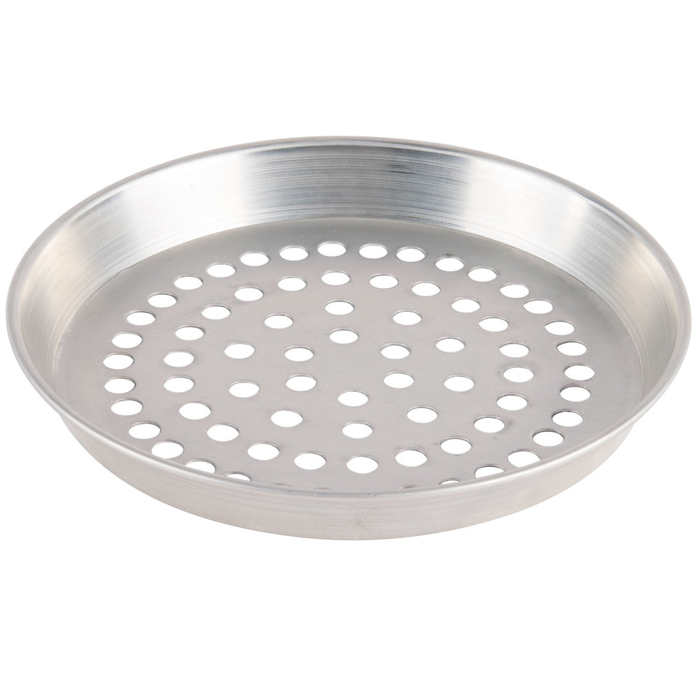 "American Metalcraft ADEP13SP 13"" x 1"" Super Perforated Standard Weight Aluminum Tapered Deep Dish Pizza Pan"