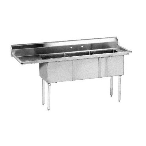 Left Drainboard Advance Tabco FE 3 1812 18 Three partment Stainless Steel