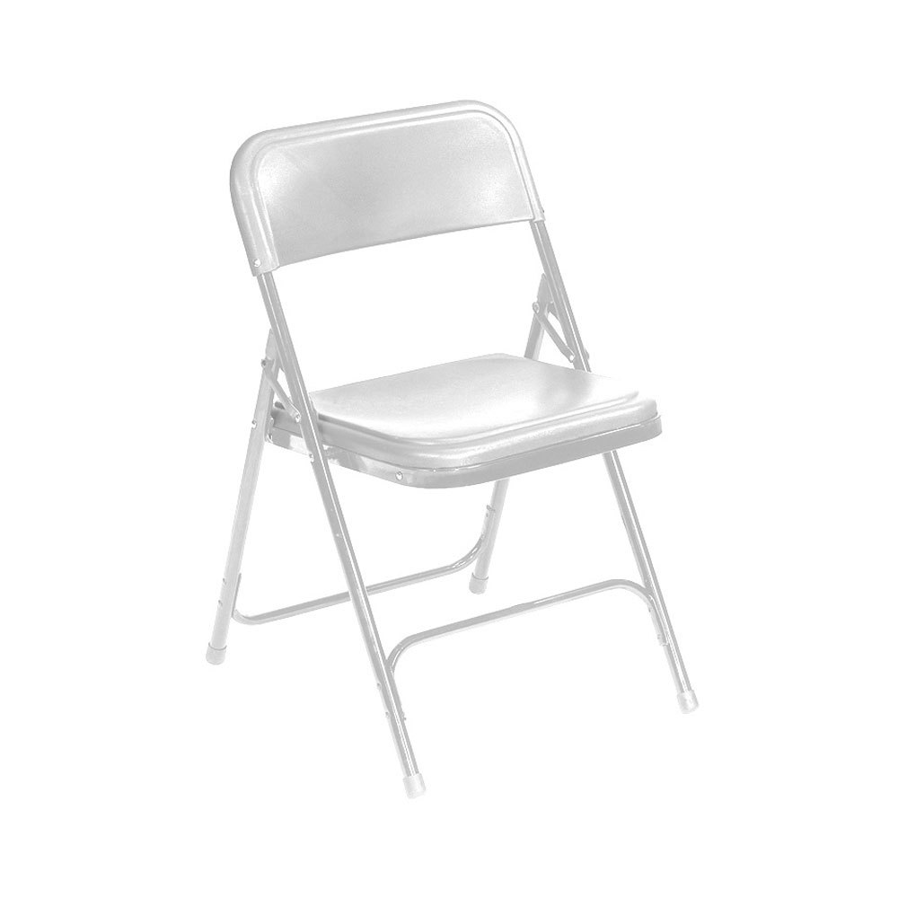 National Public Seating 821 White Metal Folding Chair with
