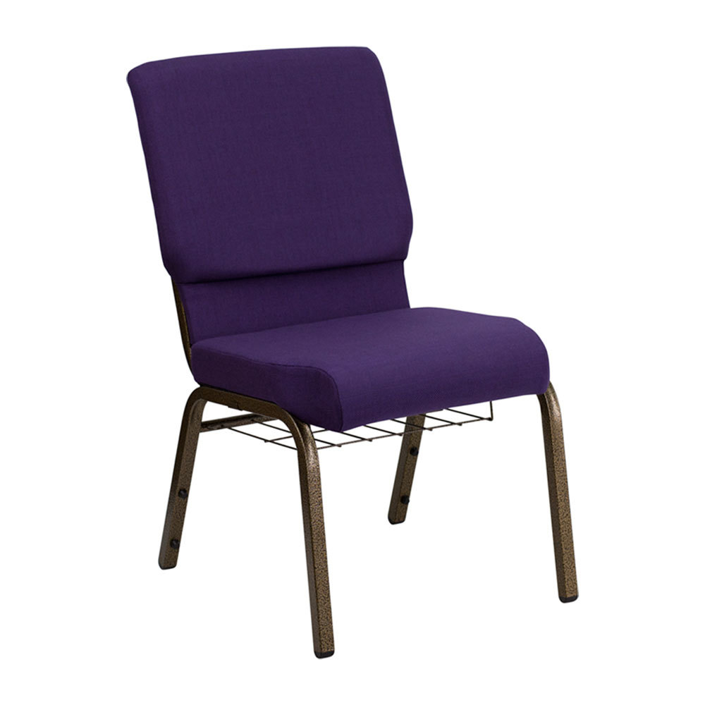 "Royal Purple 18 1/2"" Wide Church Chair with Communion Cup Book Rack - Gold Vein Frame"