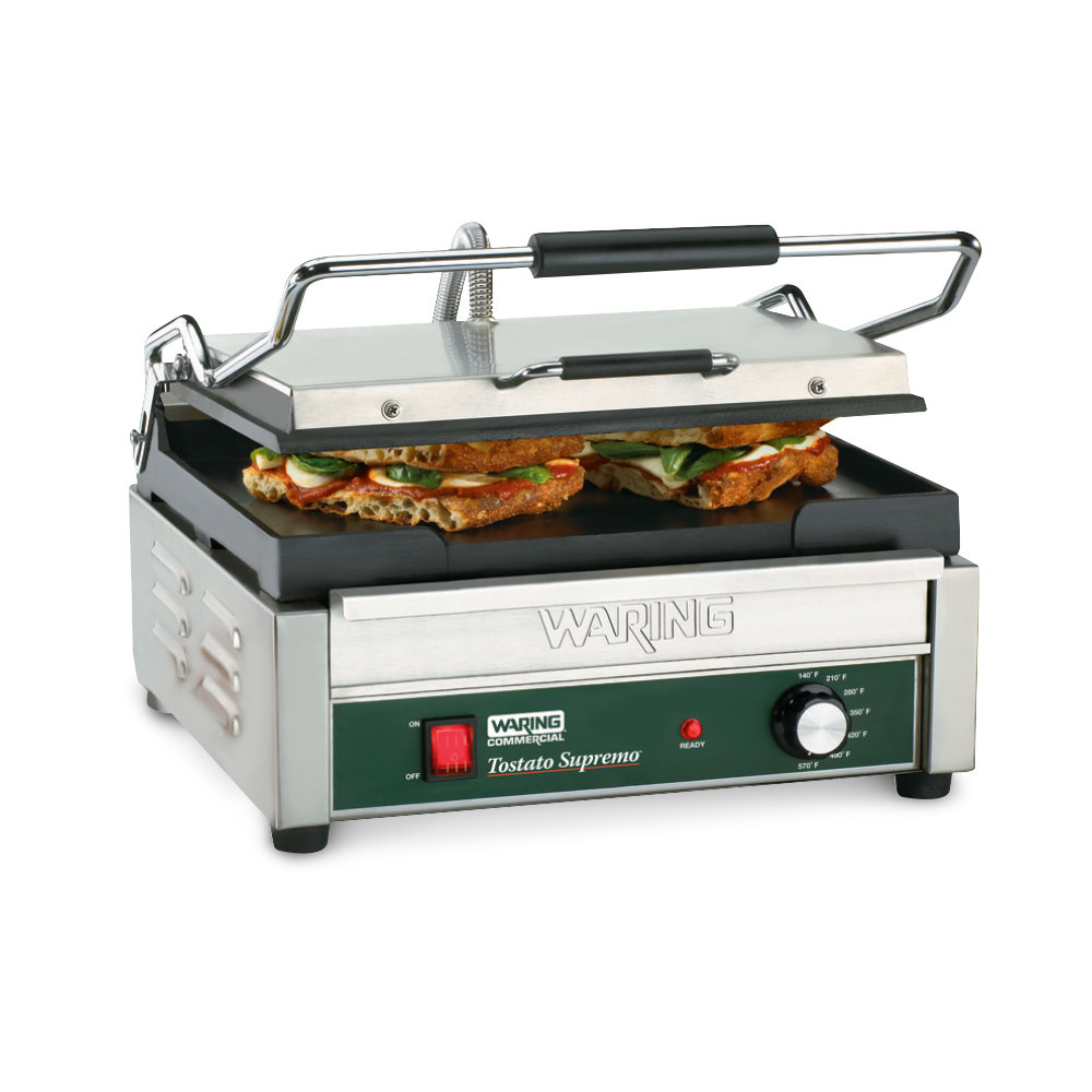 "Waring WFG250C 14 1/2"" x 11"" Toastato Supremo Large Smooth Top & Bottom Panini Grill - 120V (Canadian Use Only)"