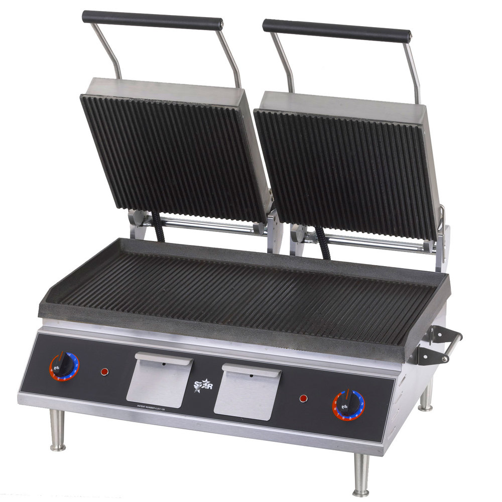 "Star CG28IB 14""x 28"" Pro-Max Heavy Duty Grooved Top & Bottom Panini Grill"
