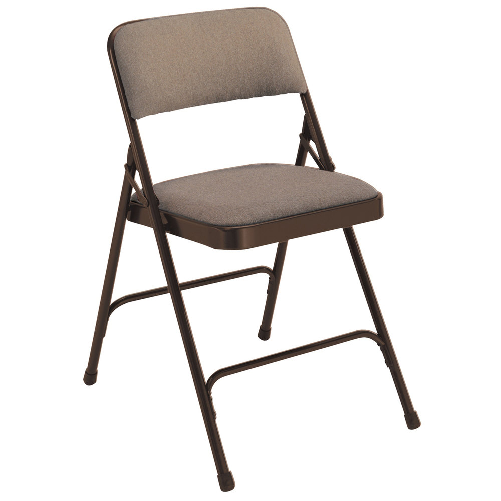 """National Public Seating 2207 Brown Metal Folding Chair with 1 1 4"""" Russe"""