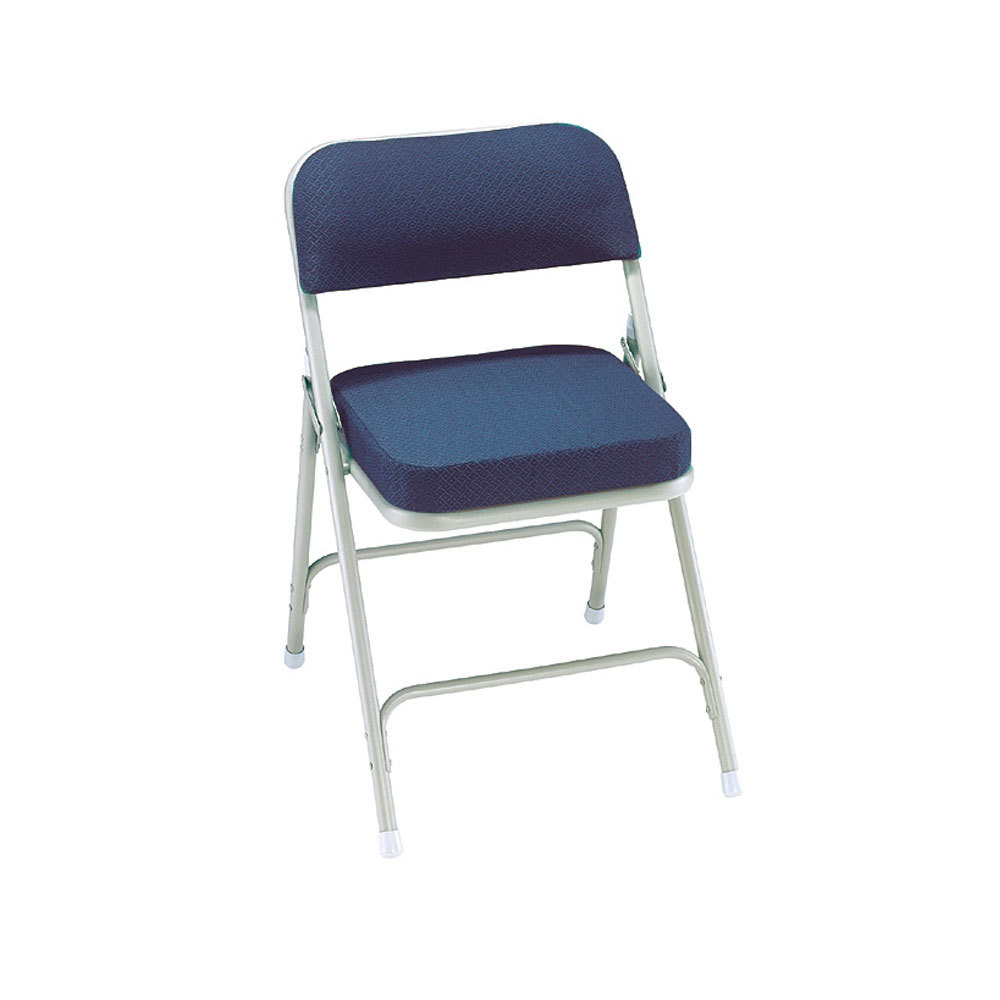 "National Public Seating 3215 Gray Metal Folding Chair with 2"" Regal Blue"