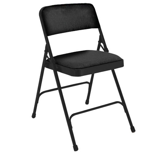 "National Public Seating 2210 Black Metal Folding Chair with 1 1 4"" Midni"