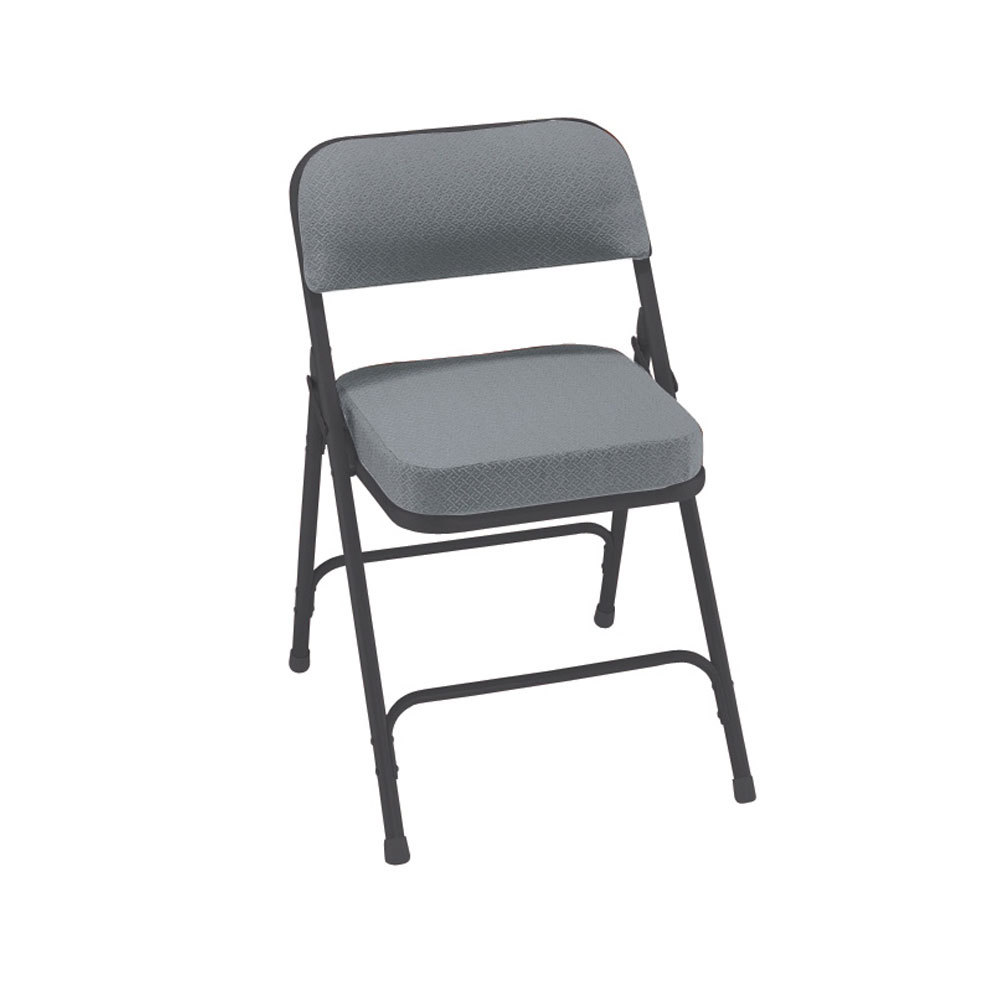 "National Public Seating 3212 Black Metal Folding Chair with 2"" Charcoal"