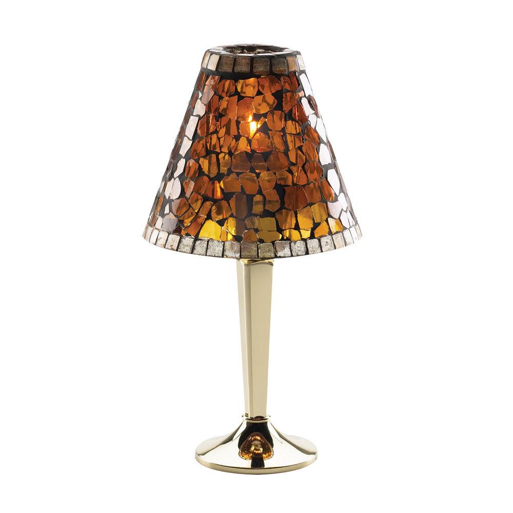SternoCandleLamp 85426 Amber Mosaic Lamp Shade