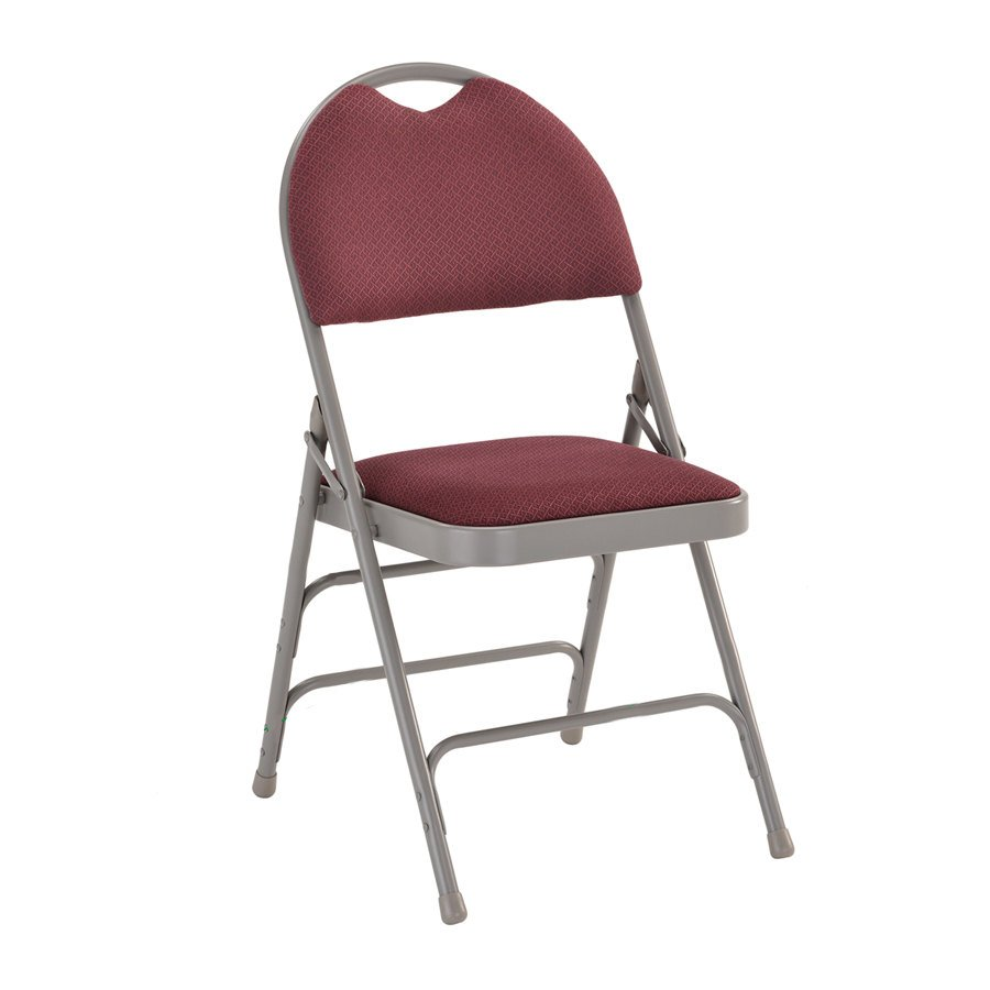 Burgundy Metal Folding Chair With 1 Padded Fabric Seat With Easy Carr