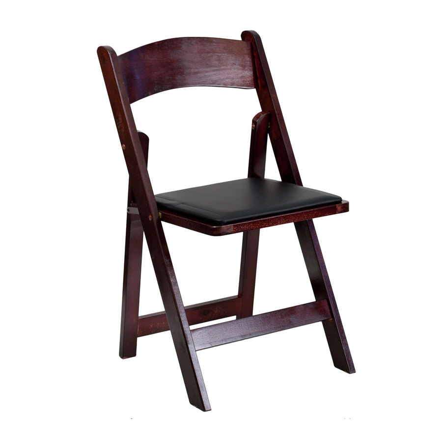 Mahogany Finish Wood Folding Chair with Padded Black Vinyl Seat