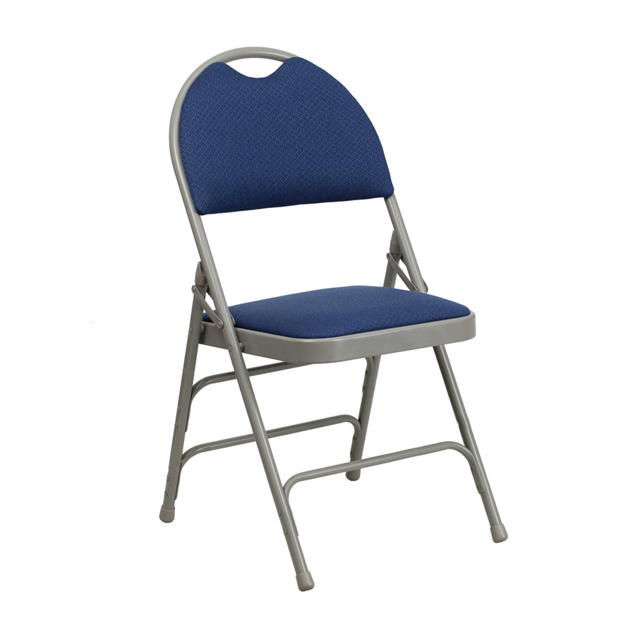 "Navy Blue Metal Folding Chair with 1"" Padded Fabric Seat with Easy Car"