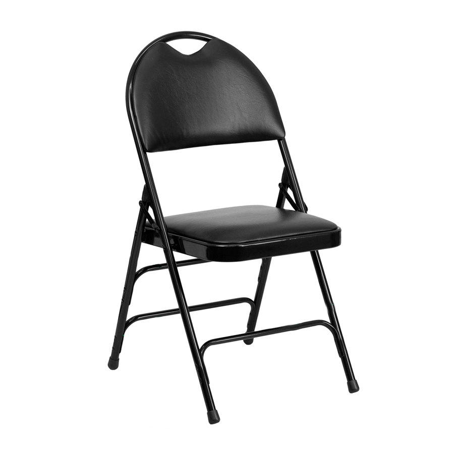 "Black Metal Folding Chair with 1"" Padded Vinyl Seat with"