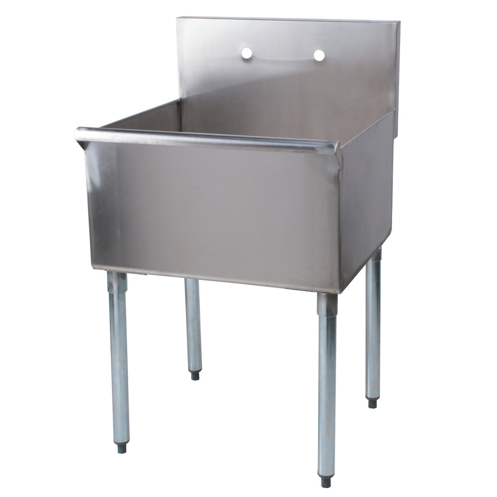 "Regency 24"" 16-Gauge Stainless Steel One Compartment Commercial Sink without Drainboard - 24"" x 24"" x 14"" Bowl"