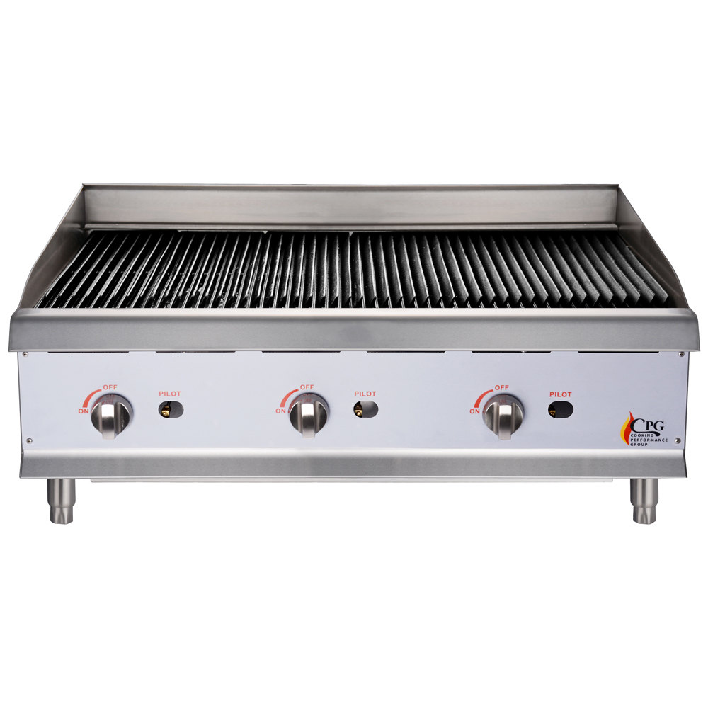 "Cooking Performance Group CBL36 36"" Gas Lava Rock Charbroiler - 120,000 BTU"