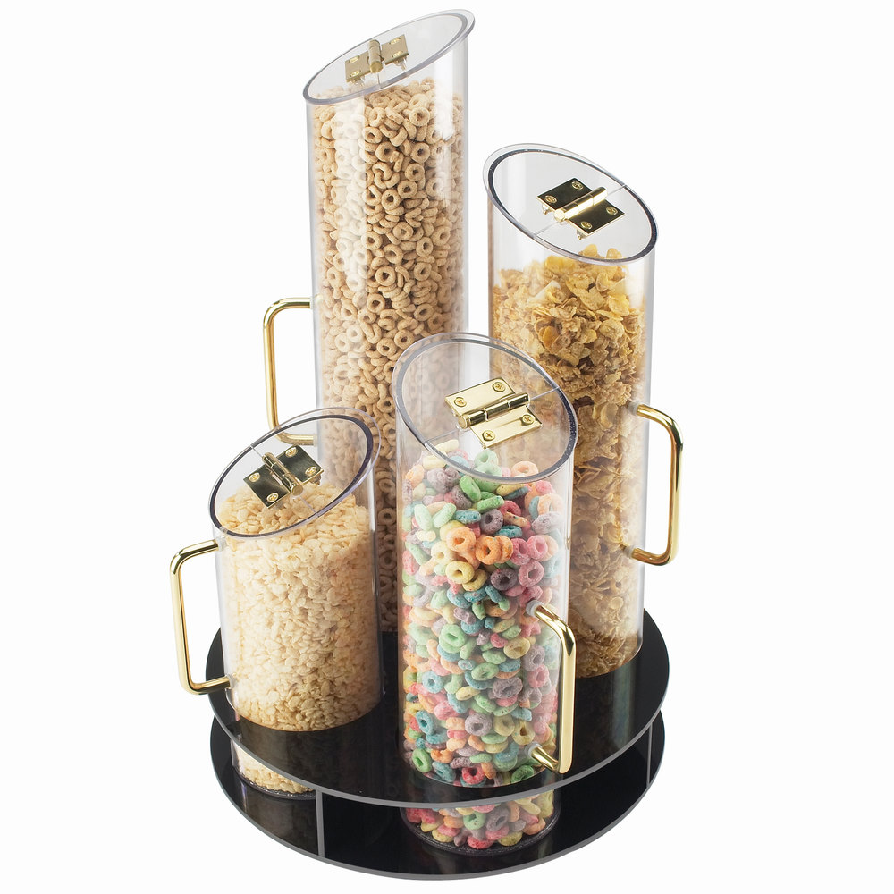 Cal Mil 723 Four Bin Turntable Cereal Dispenser With Black