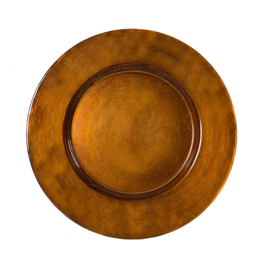 "10 Strawberry Street ANT-340(CPR) 13"" Metallic Copper Glass Charger Plate"