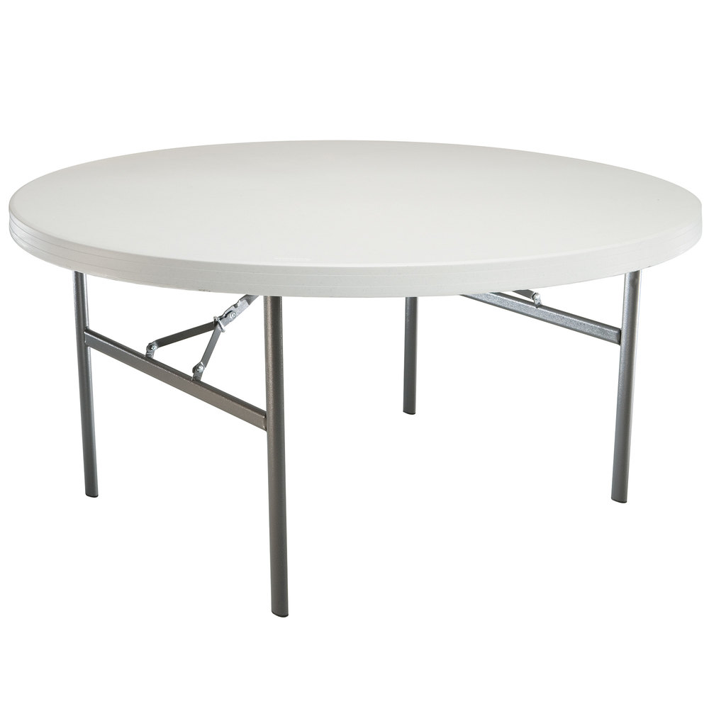 Lifetime 42673 72 round white granite plastic folding - Petite table ronde pliante ...
