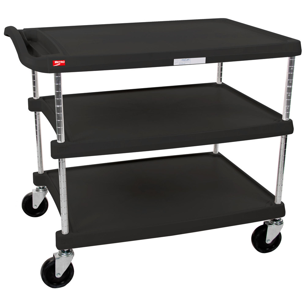 "Metro myCart MY2636-35BL Black Utility Cart with Three Shelves and Chrome Posts - 28"" x 40"""