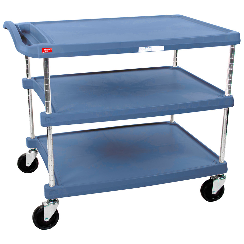 "Metro myCart MY2030-34BU Blue Antimicrobial Utility Cart with Three Shelves and Chrome Posts - 24"" x 34"""