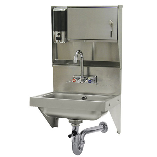 "Advance Tabco 7-PS-69 Wall Mounted Hand Sink with Soap and Paper Towel Dispenser - 17 1/4"" x 15 1/4"""