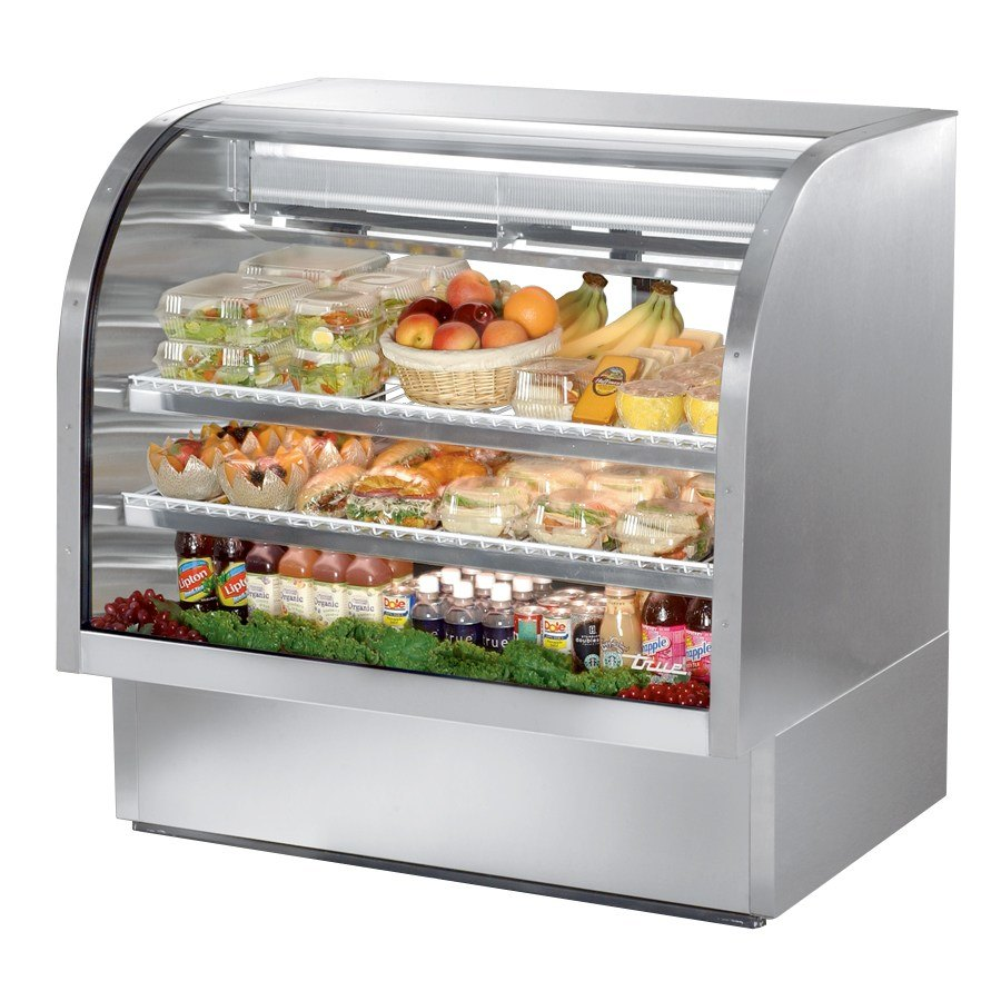 True TCGG-48-S 48 inch Stainless Steel Curved Glass Refrigerated Deli Case - 23.5 Cu. Ft.