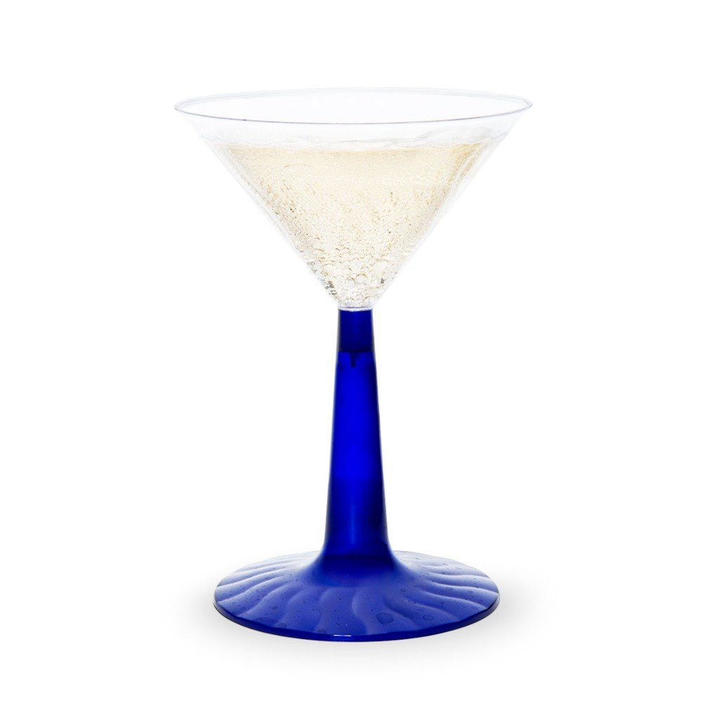 Fineline Flairware 6 oz. Plastic Martini with Cobalt Blue Base - 2 Piece 12 / Pack