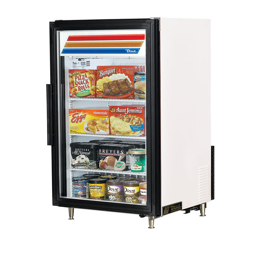 True GDM-7F White Countertop Glass Door Merchandiser Freezer - 7 Cu. Ft.