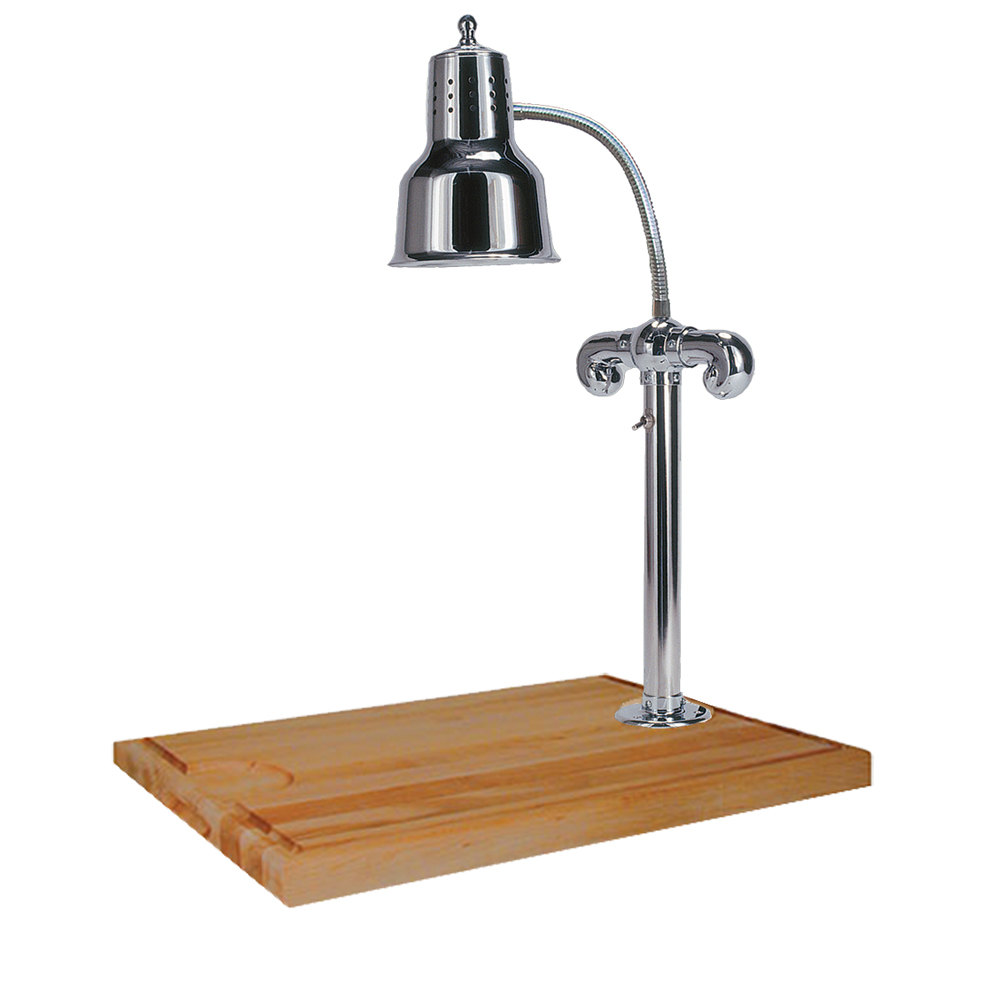 "Hanson Brass SLM/MB-2418/CH Single Lamp 18"" x 20"" Chrome Carving Station with Maple Block Base and Gravy Lane"