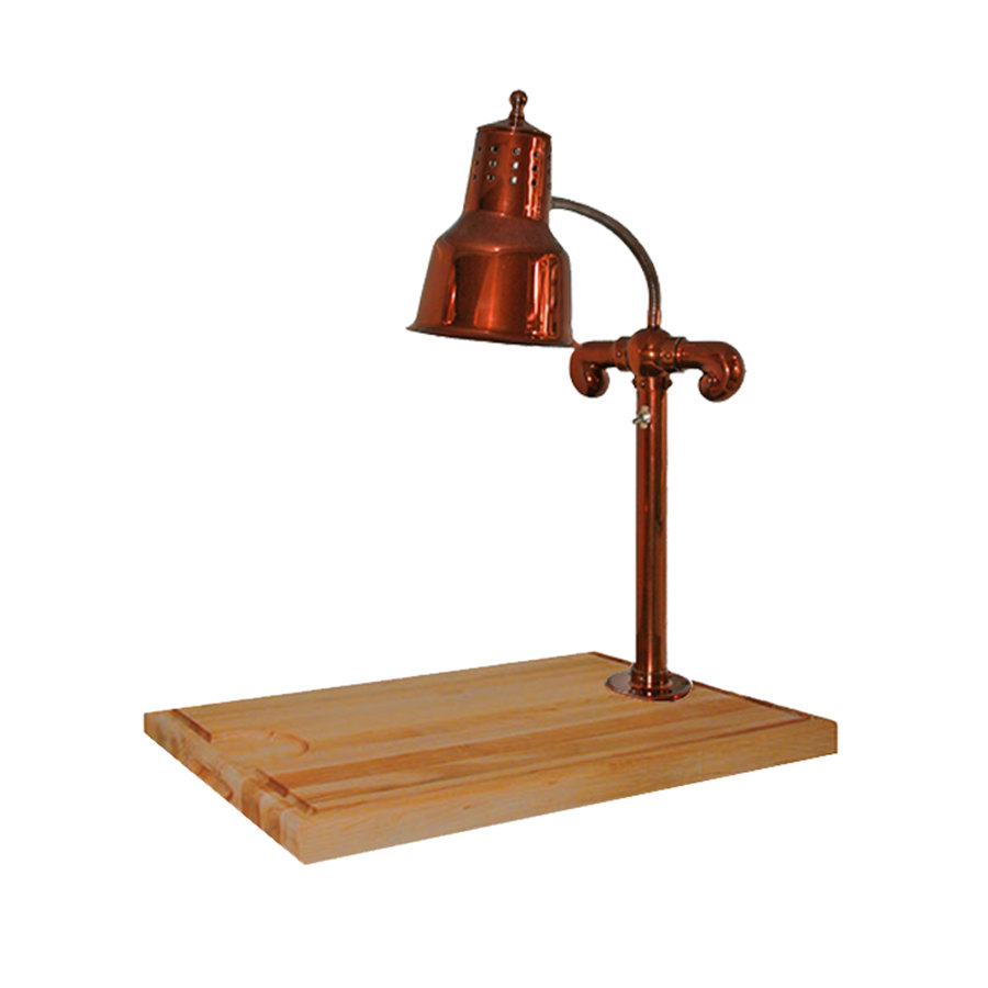 "Hanson Brass SLM/MB-2418/SC Single Lamp 24"" x 18"" Smoked Copper Carving Station with Maple Block Base and Gravy Lane"
