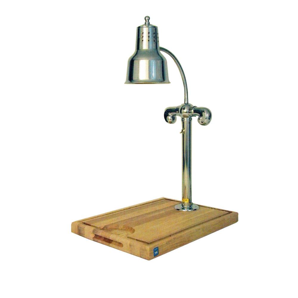 "Hanson Heat Lamps SLM/MB-2424/CH Single Lamp 24"" x 24"" Chrome Carving Station with Maple Block Base"
