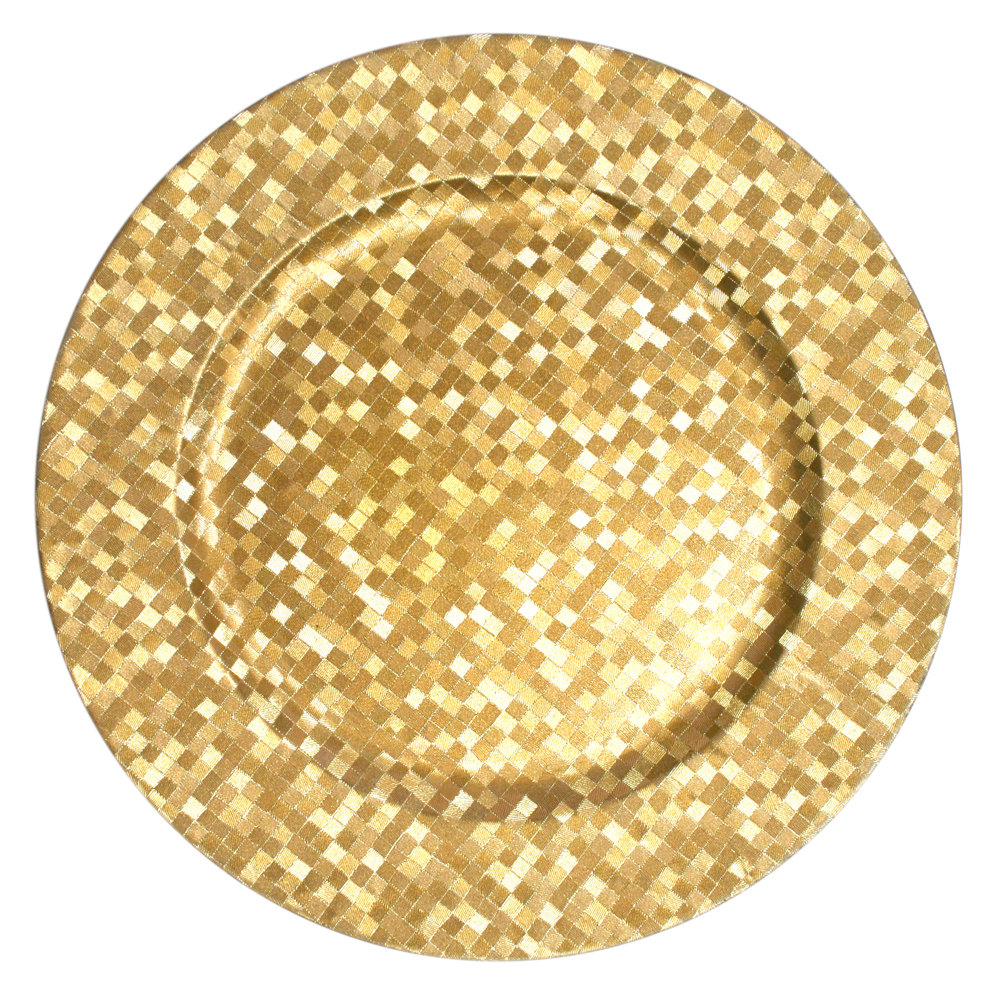 "The Jay Companies 13"" Round Gold Mosaic Polypropylene Charger Plate"