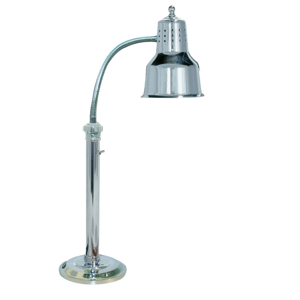 "Hanson Brass ESL-RB-7-CH Single Bulb Freestanding Flexible Heat Lamp with Chrome Finish - 7"" Round Base"