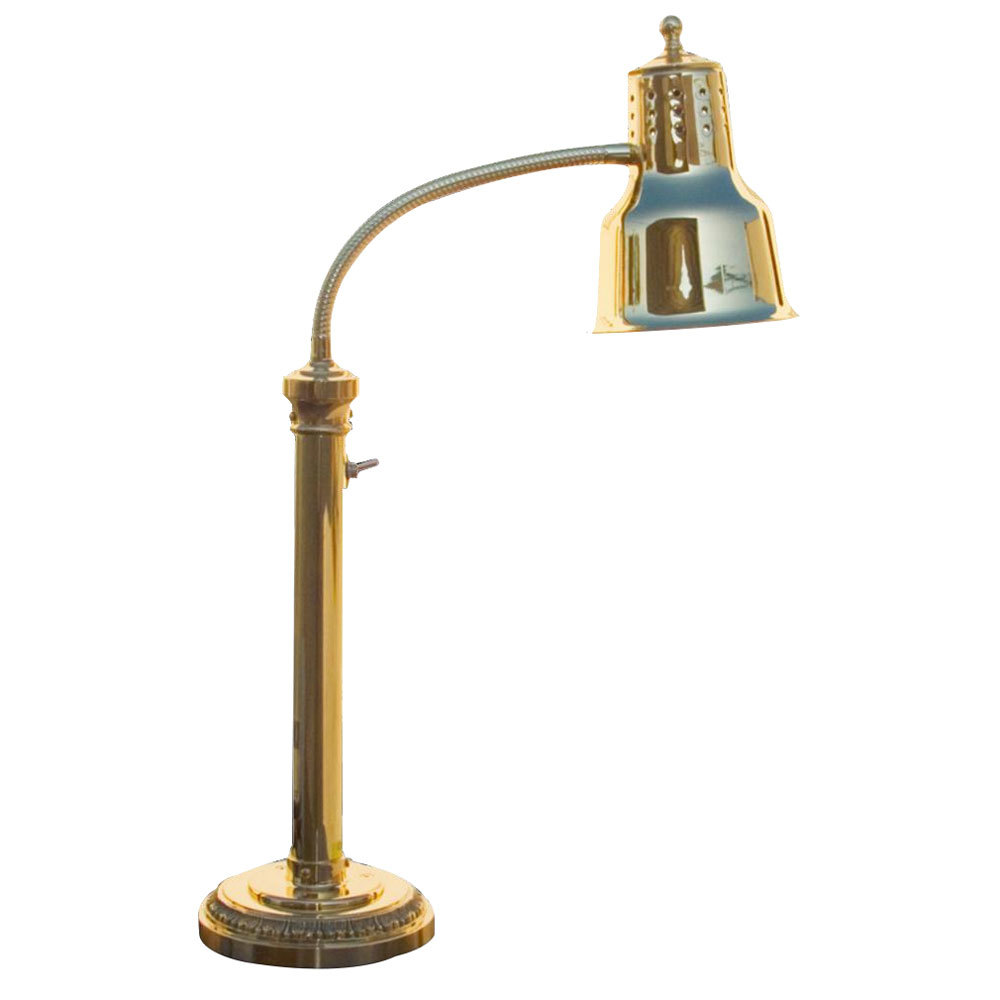 "Hanson Heat Lamps ESL-RB-7-BR Single Bulb Freestanding Flexible Heat Lamp with Brass Finish - 7"" Round Base"