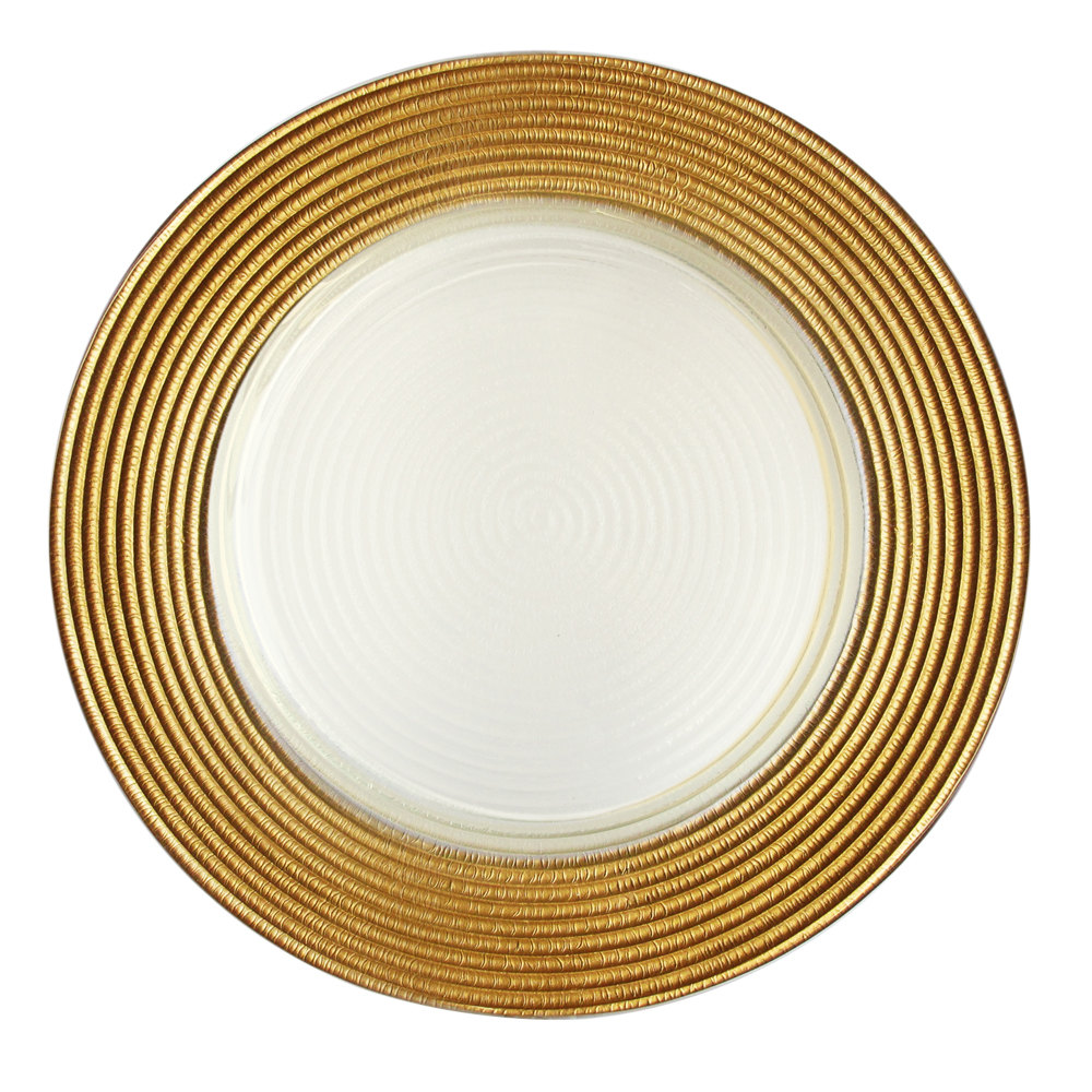 "The Jay Companies 12"" Round Gold Stripe Rim Glass Charger Plate"
