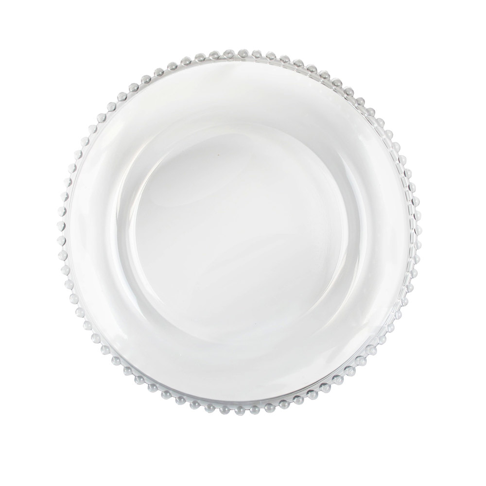 The Jay Companies 13 Quot Round Clear Beaded Rim Glass Charger