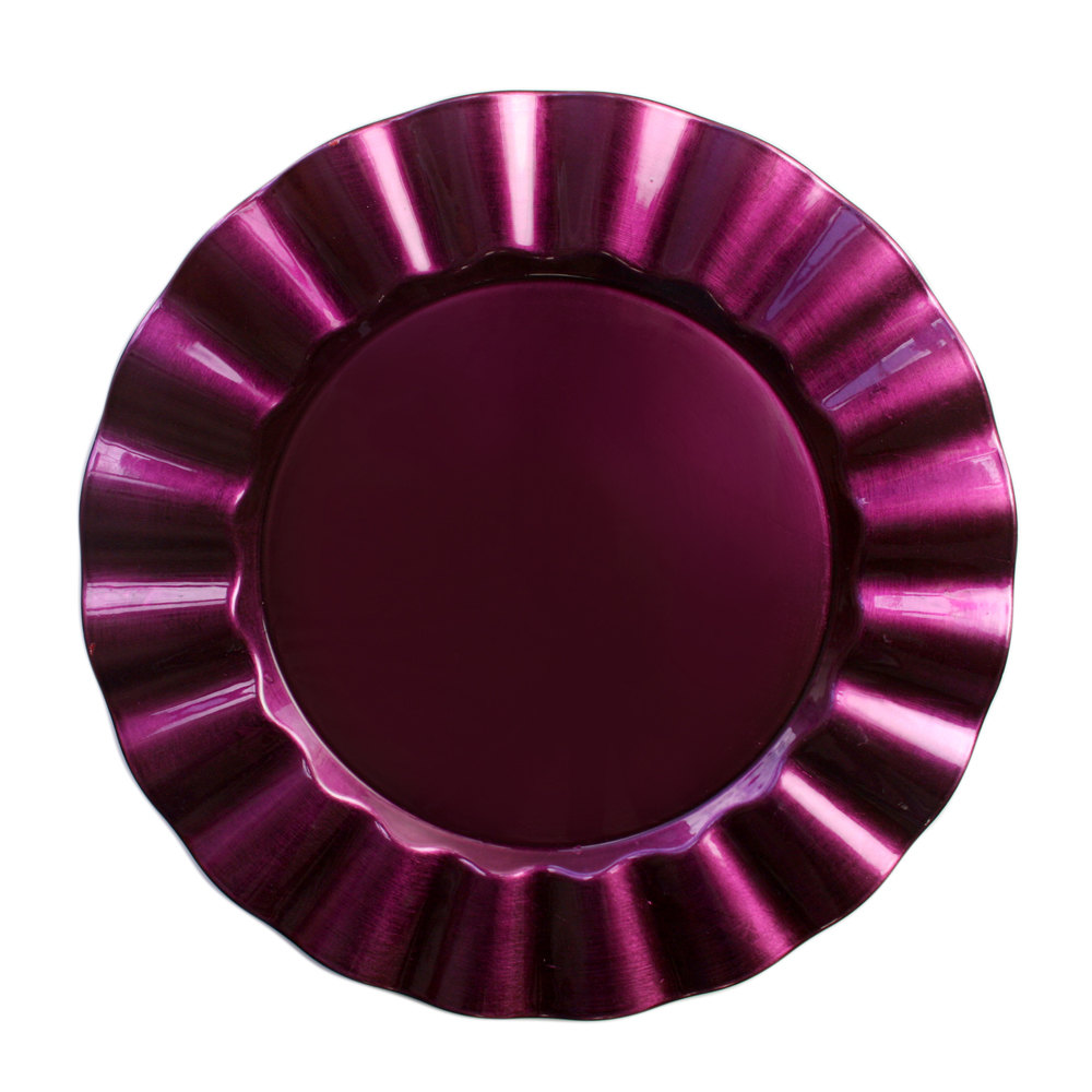 "The Jay Companies 13"" Round Purple Ruffled Rim Polypropylene Charger Plate"