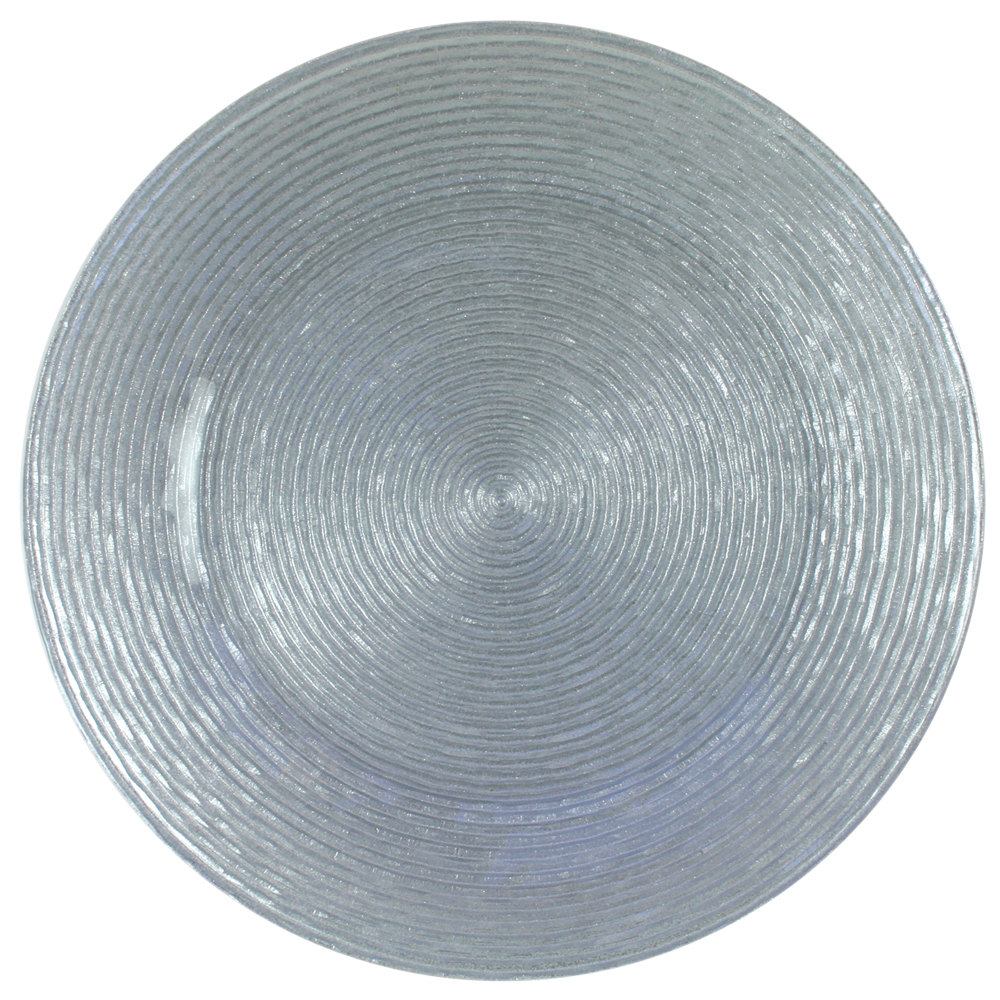 "The Jay Companies 13"" Round Circus Silver Glass Charger Plate"