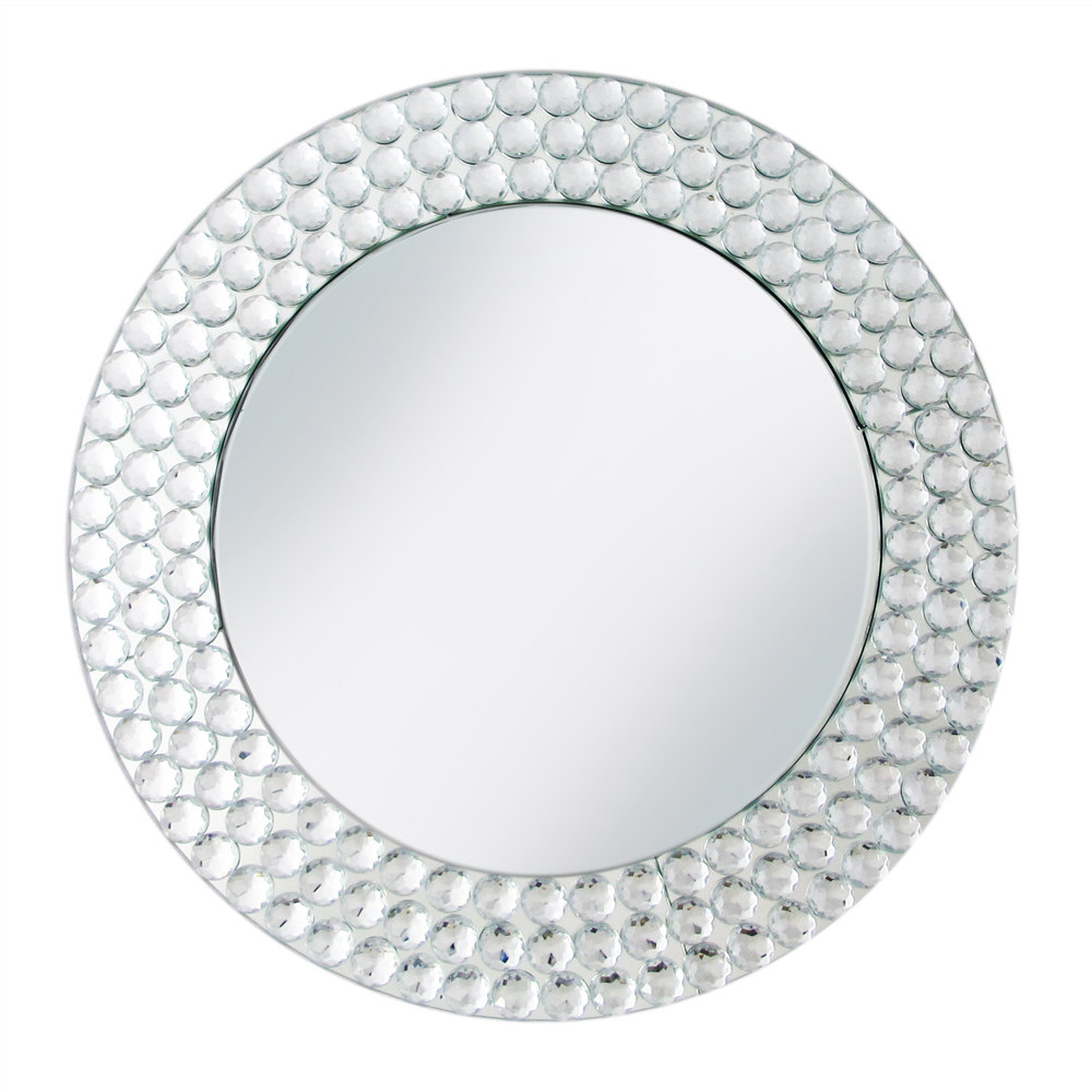 The Jay Companies 13 Quot Round Dot Glass Mirror Charger Plate