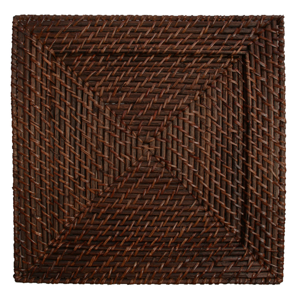 Square Brick Brown Rattan Charger Plate Main Picture