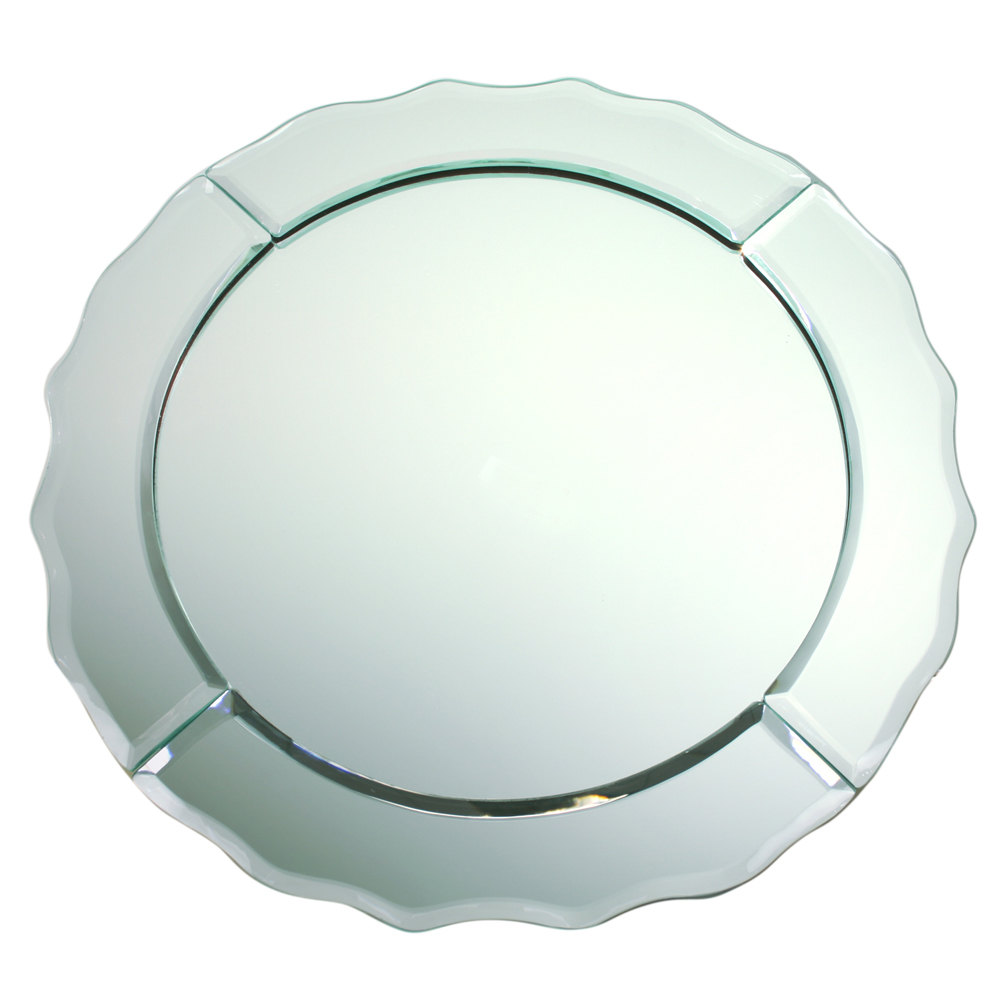 "The Jay Companies 13"" Round Scalloped Edge Glass Mirror Charger Plate"
