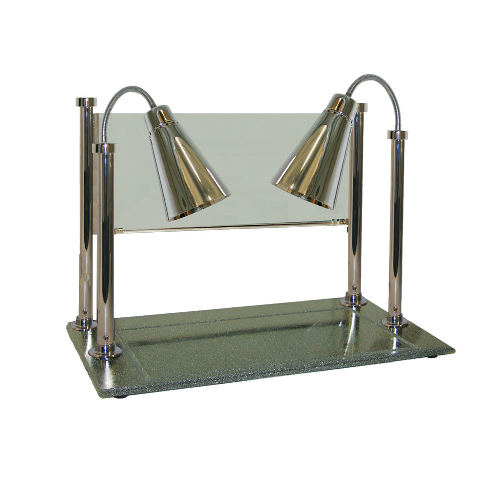 "Hanson Brass CD/900/ST Two Single Bulb 20"" x 36"" Stainless Steel Carving Display with 900 Series Shades, Synthetic Granite Base, and Sneeze Guard"