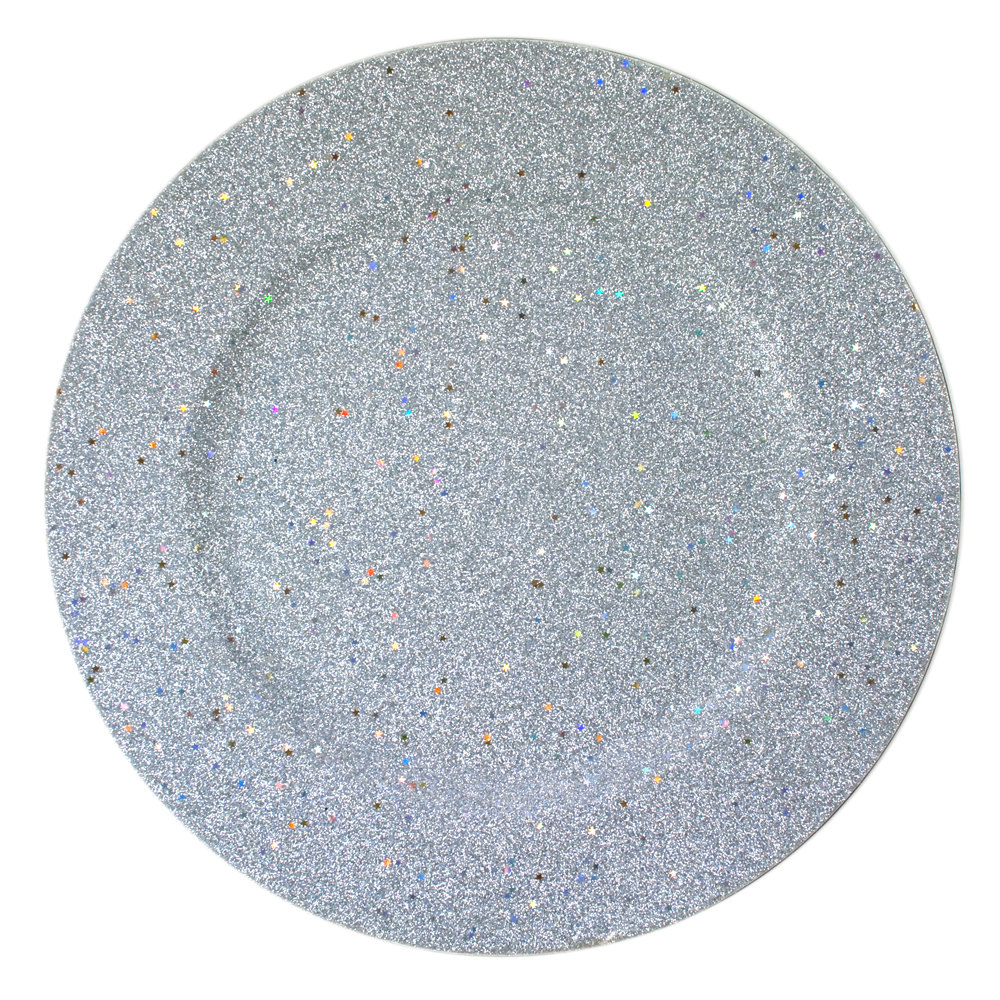 "The Jay Companies 13"" Round Silver Glitter Polypropylene Charger Plate"