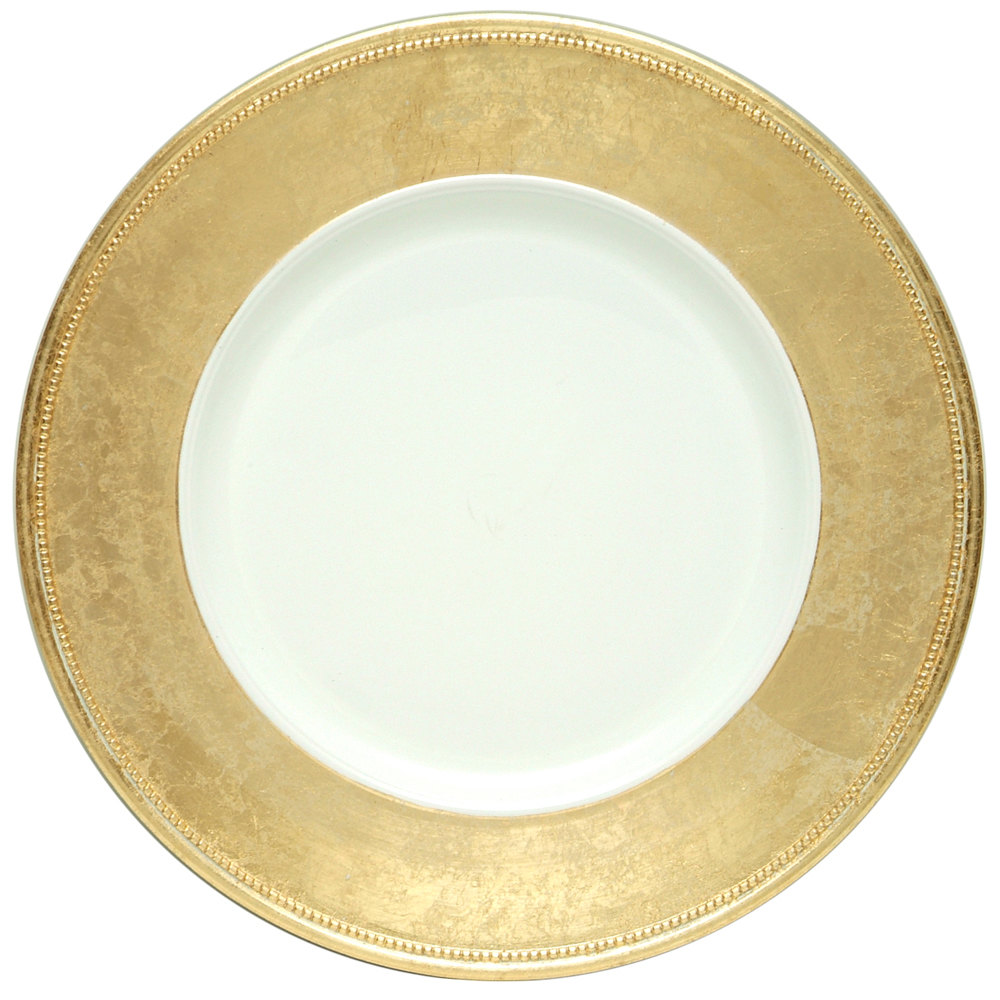 "The Jay Companies 13"" Round Gold Rim Polypropylene Charger Plate"