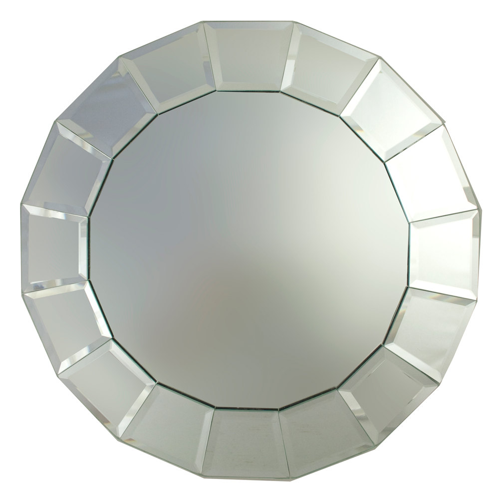 "The Jay Companies 13"" Round Beveled Block Glass Mirror Charger Plate"