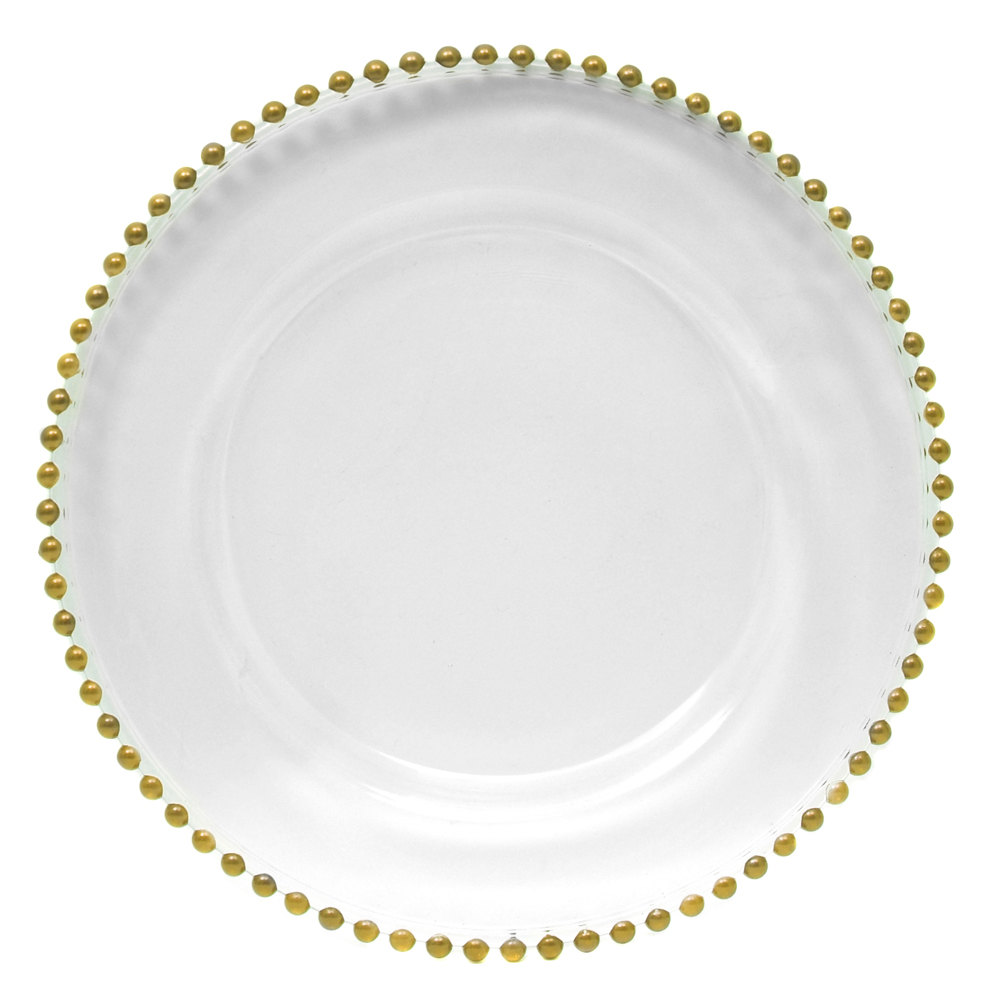 "The Jay Companies 13"" Round Gold Beaded Glass Charger Plate"