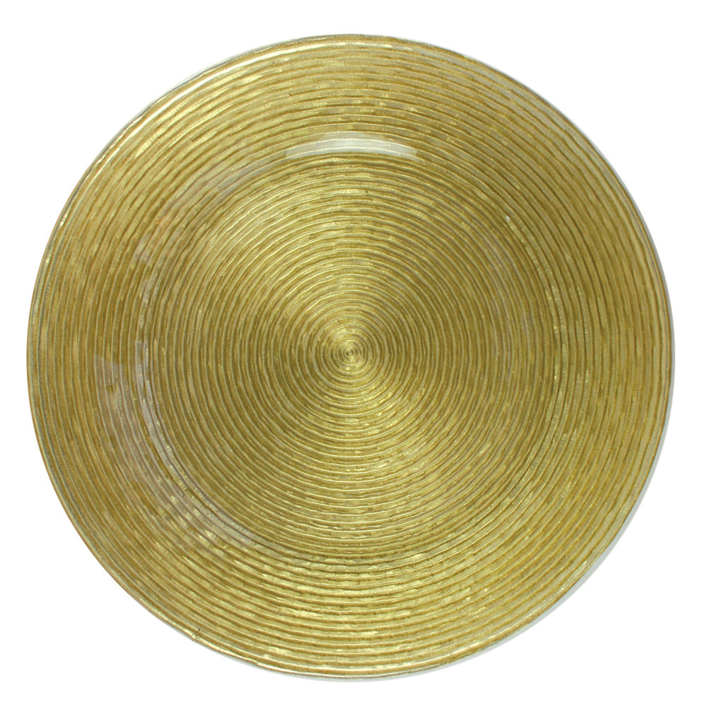"The Jay Companies 13"" Round Circus Gold Glass Charger Plate"