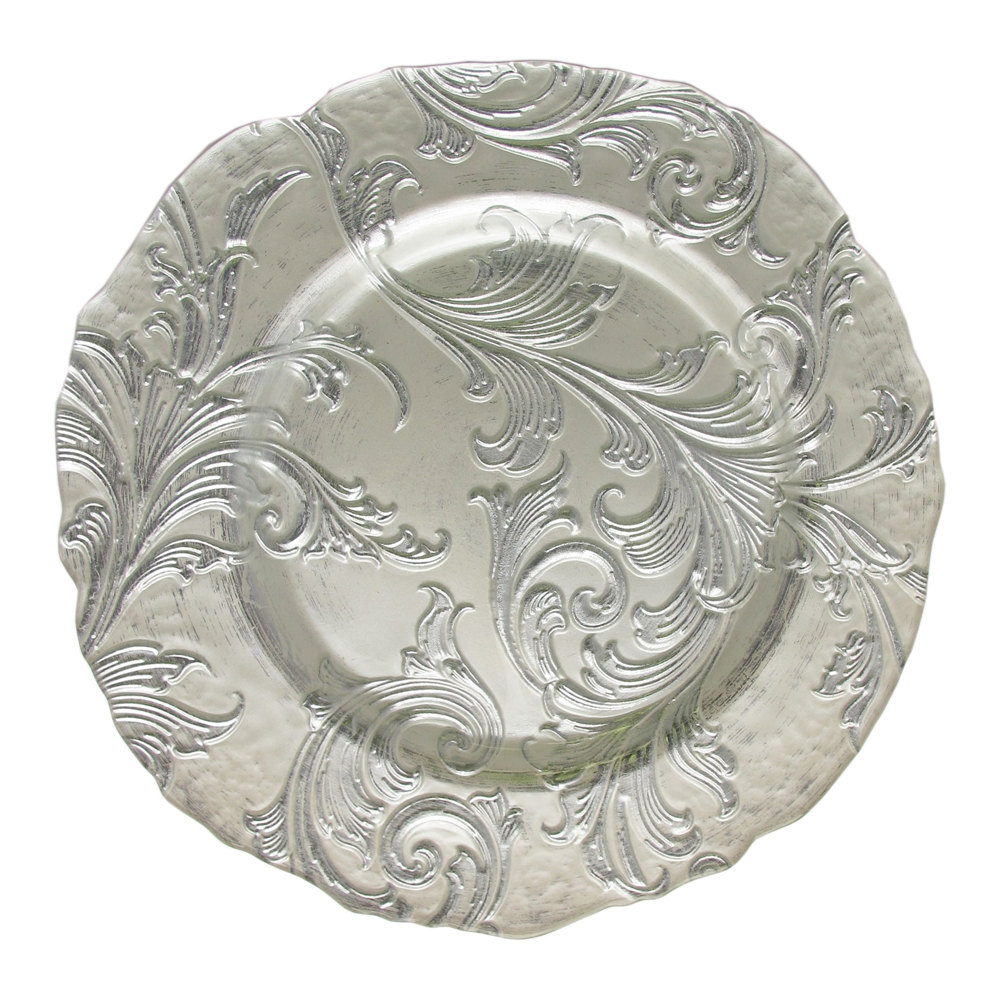 The Jay Companies 13 Round Vanessa Silver Glass Charger Plate